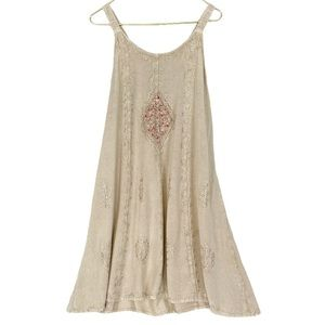 VINTAGE 90s Embroidered Floral Patchwork Sun Dress